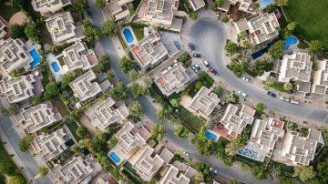 Bird's Eye View of Suburban Homes