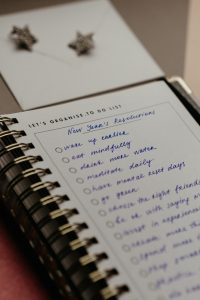 New Years Resolution list in a notebook